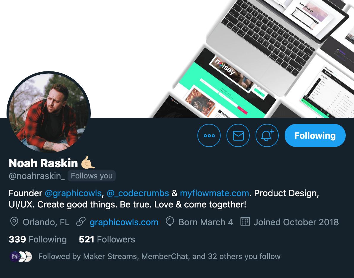 Noah Raskin Twitter profile. Navigate to visit Noah's Twitter.