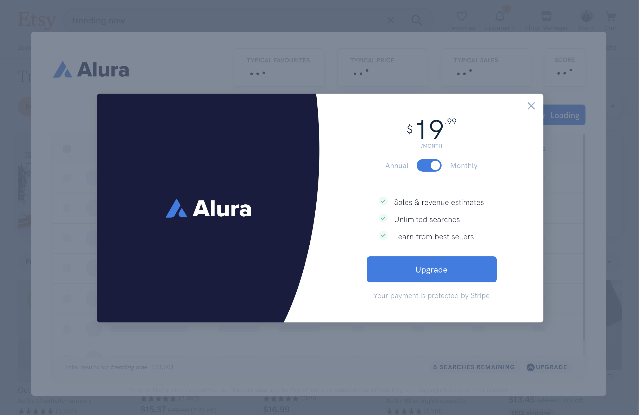 Alura pricing UI - 19.99 per month of 9.99 per month billed annually
