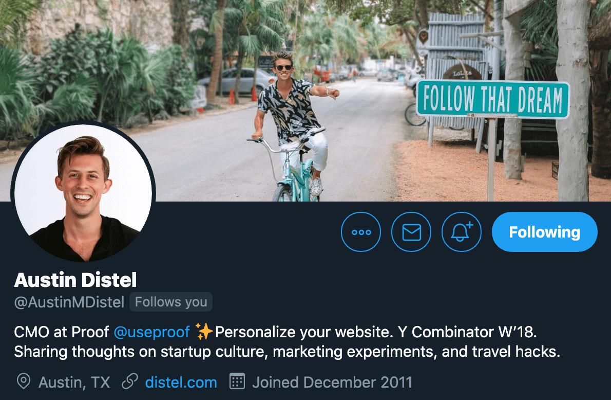 austin distel twitter profile