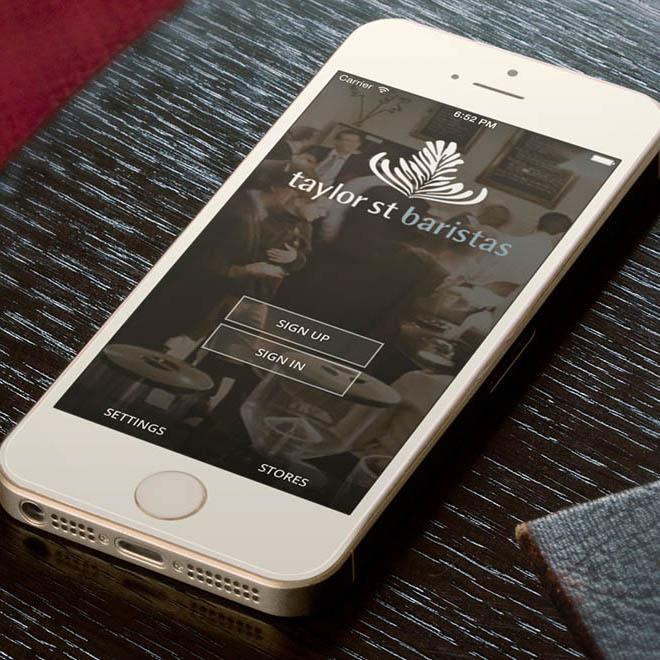 Taylor St. Baristas cafe app login screenshot