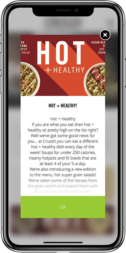 Crussh restaurant app iPhone X marketing popup hot and healthy