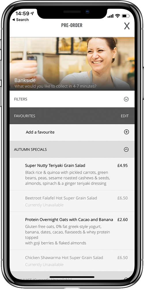 Crussh cafe iPhone pre order screenshot