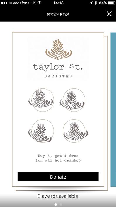 Taylor St. Baristas loyalty rewards stamps screenshot