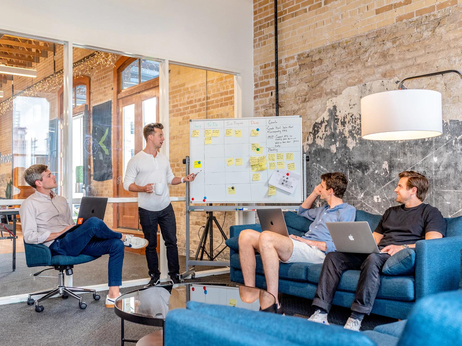 group of men working meeting