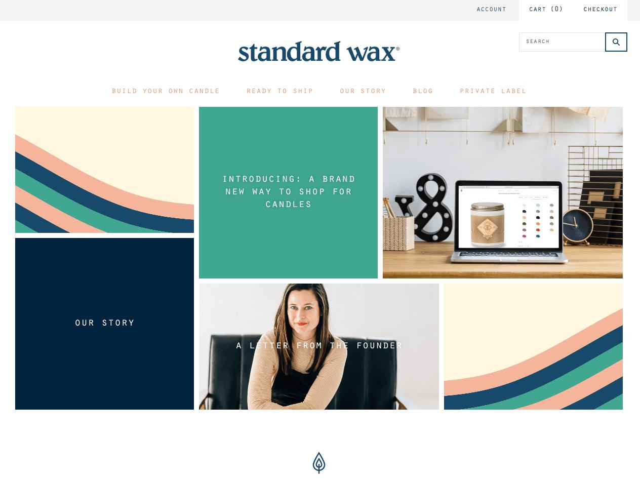 standard wax's website homepage