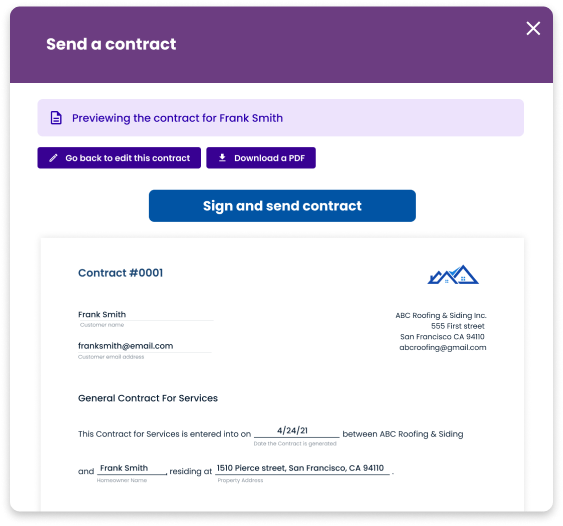 Send a contract