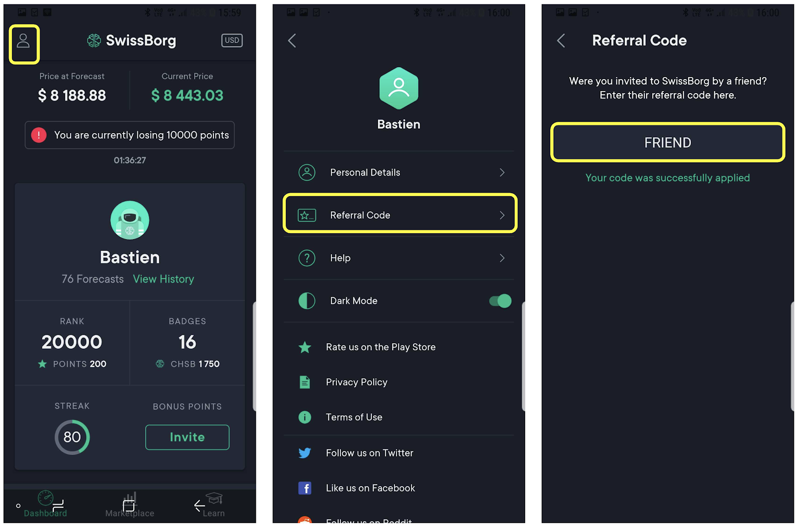 SwissBorg community app referral