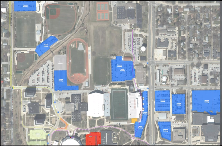 The ISU campus with an overlay of key locations during the reunification drill
