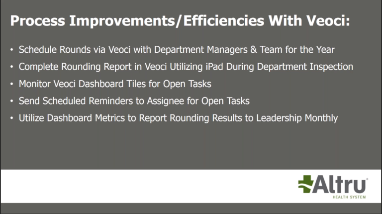 the benefits Veoci brings to EOC rounding.