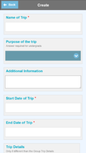The Veoci travel registry on mobile