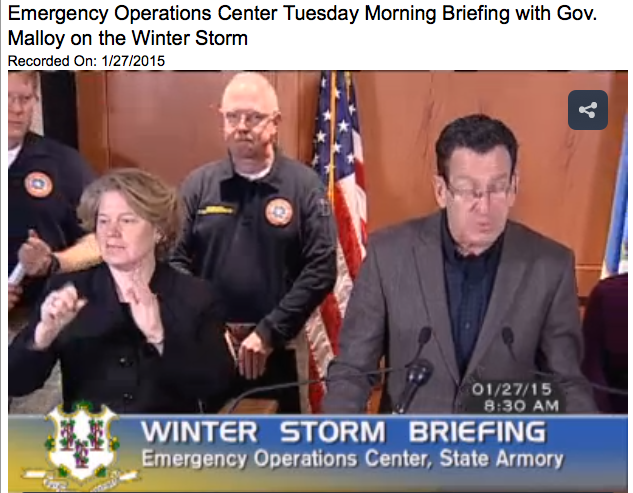 Connecticut Govenor Dan Malloy preparing the state for a winter storm at a press conference.