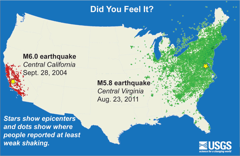 The 2011 Virginia earthquake was felt as far west as Wisconsin and Minnesota, and as far north as Ontario, Canada.