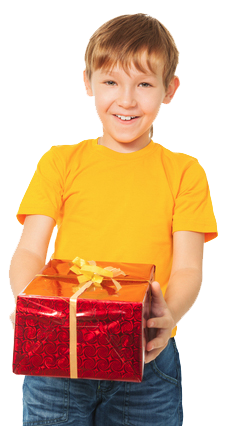 happy young boy holding red sparkle present with yellow bow