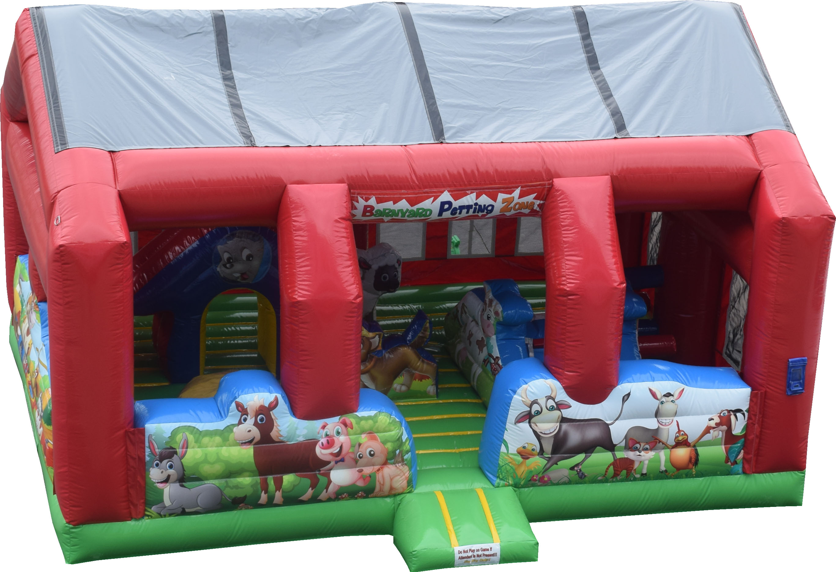 A covered play area for the younger ones at the event. Features a small slide, Inflatable rocking characters, obstacles and bouncing areas.