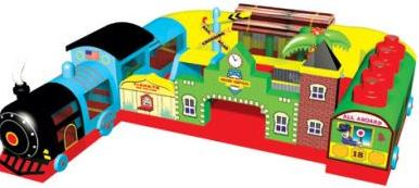 The Fun Express Train Play Area includes a train tunnel with a bouncing train station play area. Great for the younger children. (27' long x 20' wide x 9' tall)