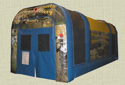 2 players shoot paintless paintballs at targets that light up at the far end of the inflatable. Participants must be 13 years of age or older for safety and insurance reasons. 20' l x 10' w x 12' h.