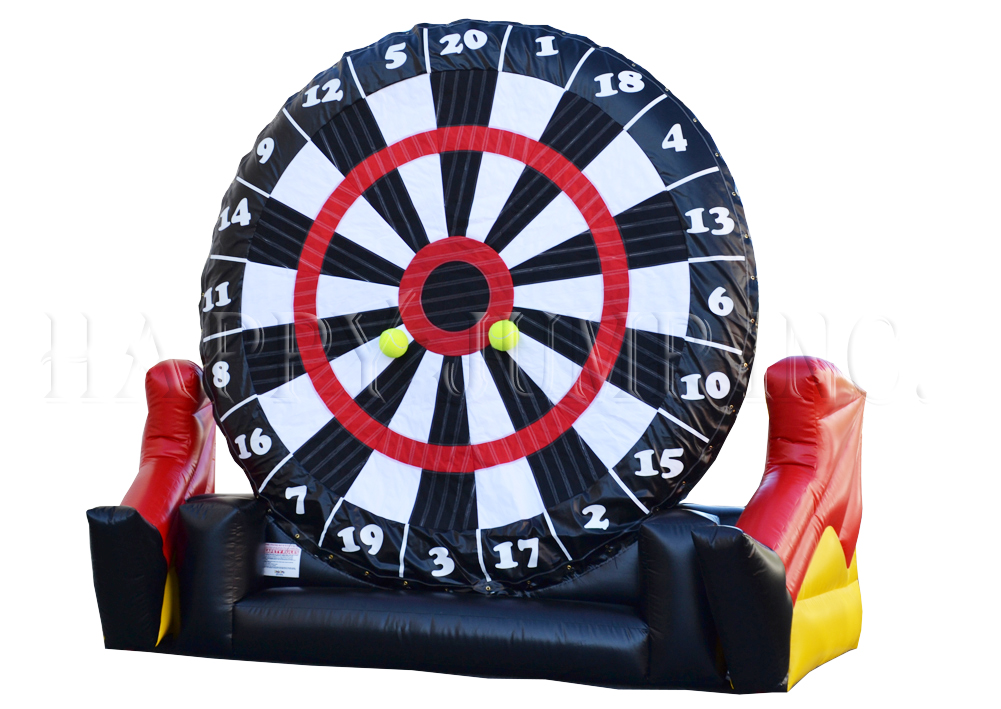 A new twist on the old dart game. Participants kick Velcro Soccer Balls onto the sticky dart board. Great fun for all ages. 20' l x 10' w x 15' h.