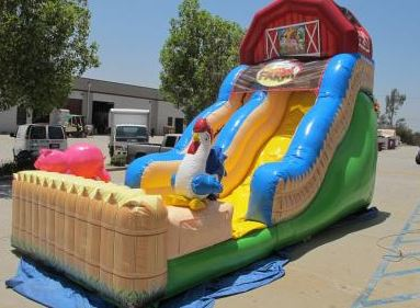 Get ready for some good ol' fun down on the funny farm! Guests will go hog wild for the fun barnyard-themed Funny Farm Slide. (27' l x 13' w x 18' h)