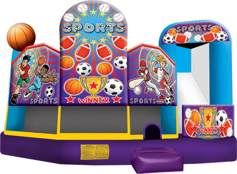 A combination or bouncing, sliding, and obstacles fill this Sports Combo. (18' long x 19' wide x 15' tall)