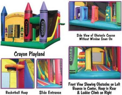 This Combo includes a bouncing area, small slide, basketball hoop, and a small obstacle course. (18' long x 17' wide x 17' tall)