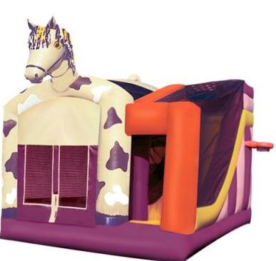 A Pony Theme Combo with a small obstacle course, bouncing area, basketball hoop, and slide. (Same inside as Crayon Combo.) (18' long x 17' wide x 17' tall)