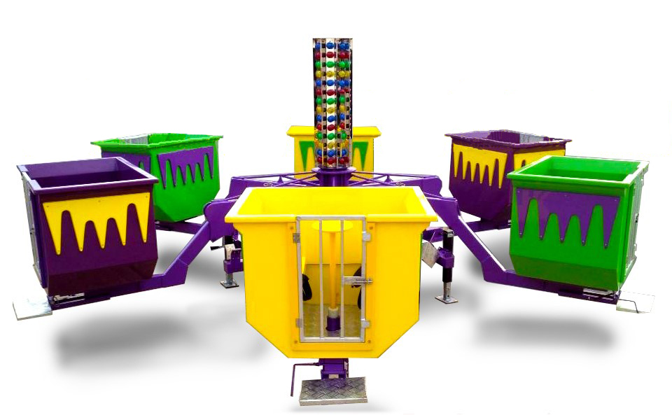 The Turbo Tubs is a high quality ride that spins in a circle while the guests spin as fast or as slow as they want their individual car. 40' D Note: Max 24 people at a time
