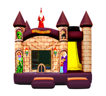 The Wizard's Combo includes a bouncing area, pop-ups, basketball hoop and slide. 18' x 15' x 17'