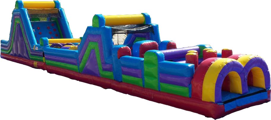 A new version of the Monster Obstacle Course inflatable play structure. All new path with pop-ups, climbs and slides. (70' l x 12' wx 18' h)