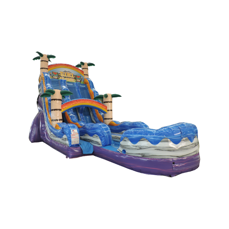 The Tiki Plunge Double Lane Water Slide features 2 lanes to cool off on a summer day.