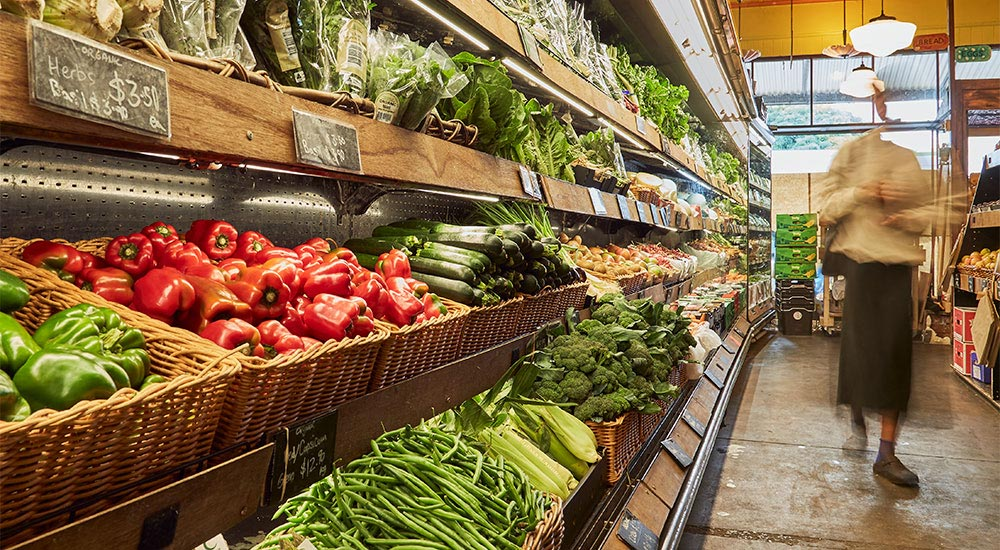 Organic produce in the groceries aisle at Terra Madre