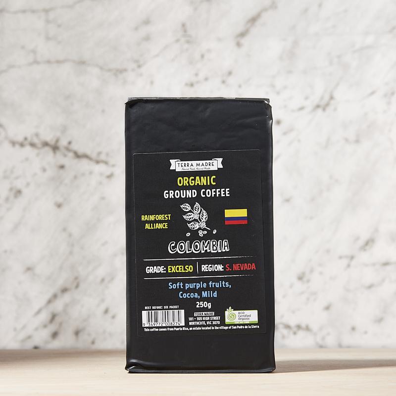 Coffee Ground Organic Columbia 250g x 8