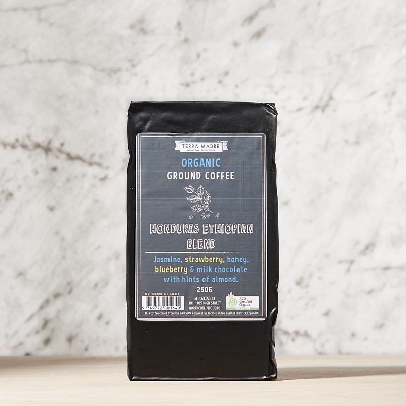 Coffee Honduras Ethiopian Blend Organic Ground 8 x 250gms