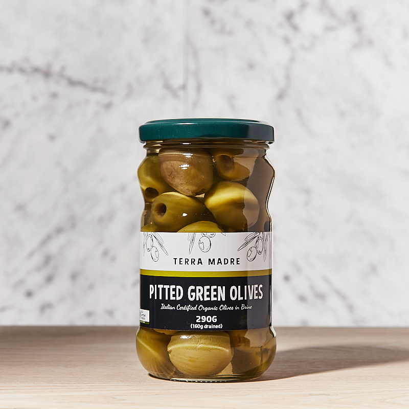 Olives Green Pitted Brine Organic TM 12x290gm