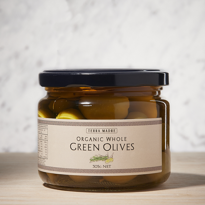 Olives Green Whole Org Greece 6 x 305gm