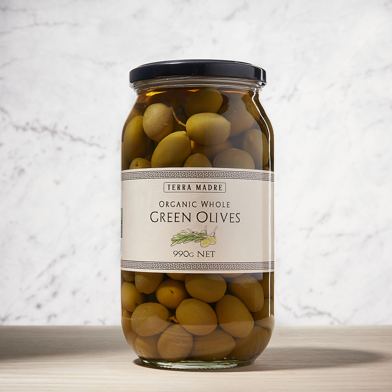Olives Green Whole Org Greece 6 x 990gm