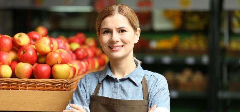 saleswoman in food market