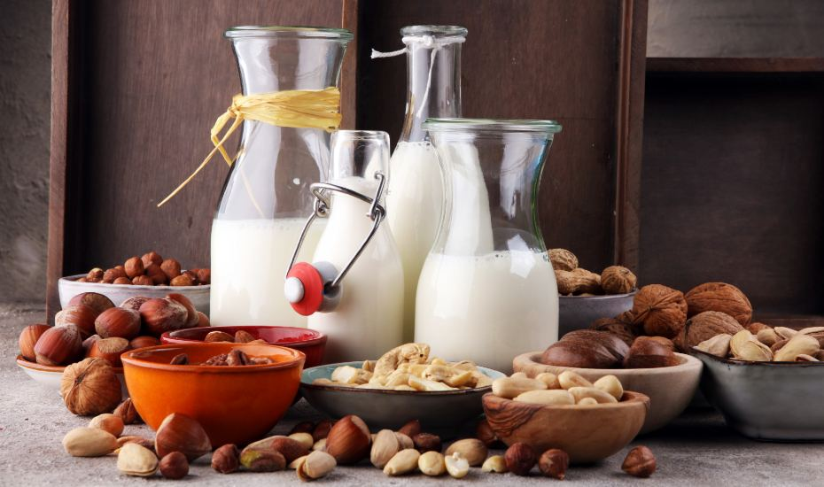 different types of milk alternatives in jugs beside the different nut varieties