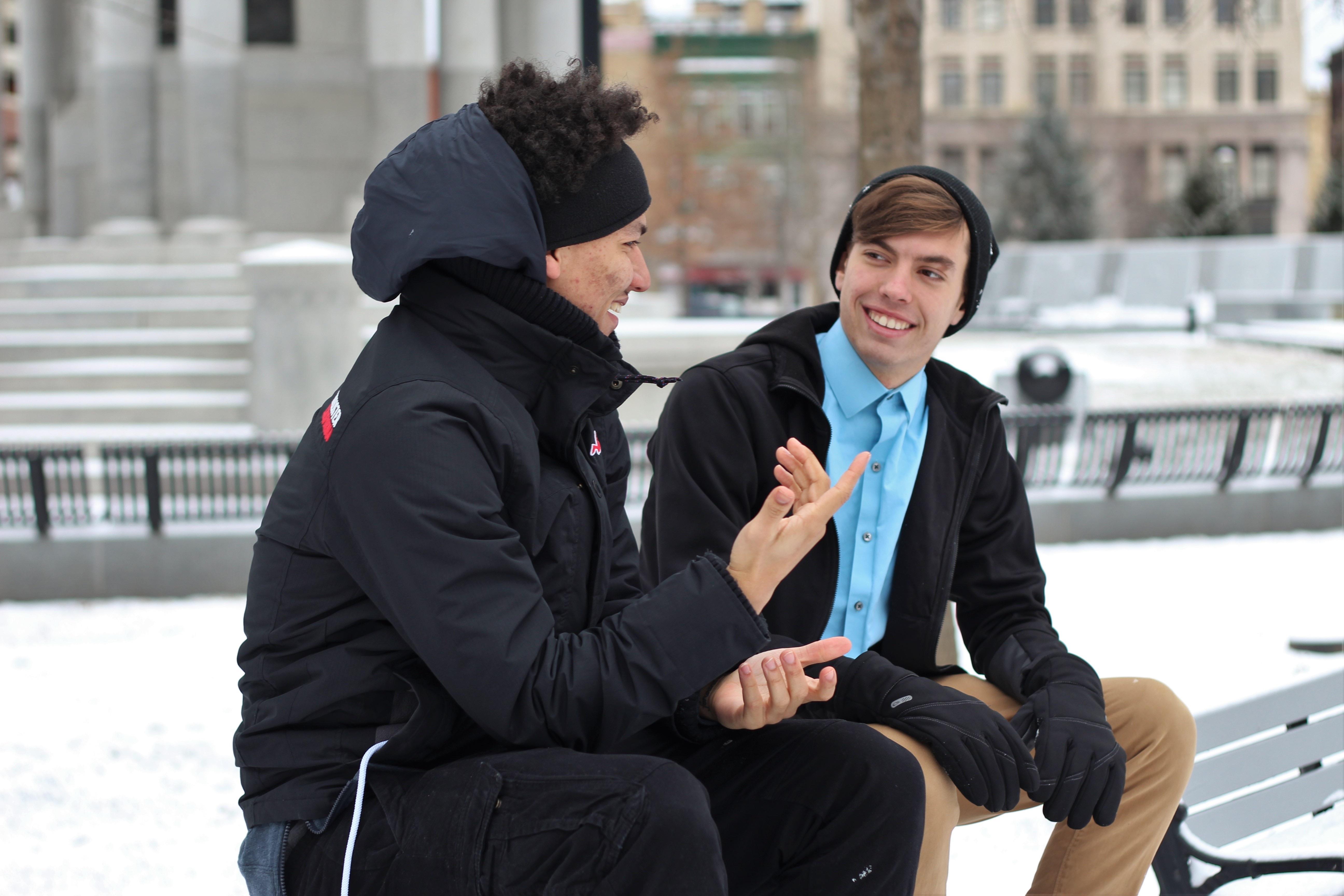 Talking to someone