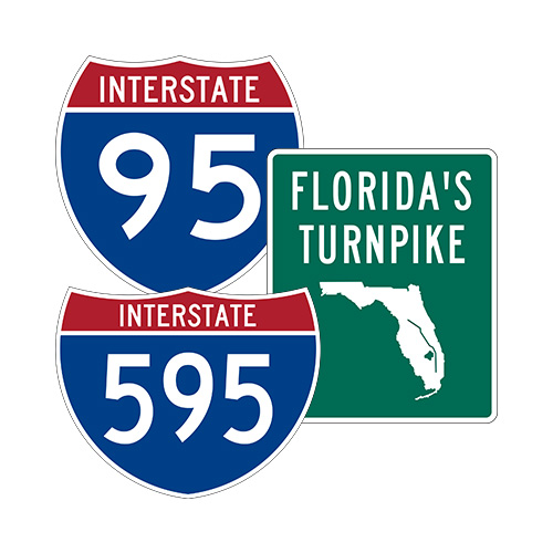 Interstate 95 Interstate 595 Florida Turnpike Signs
