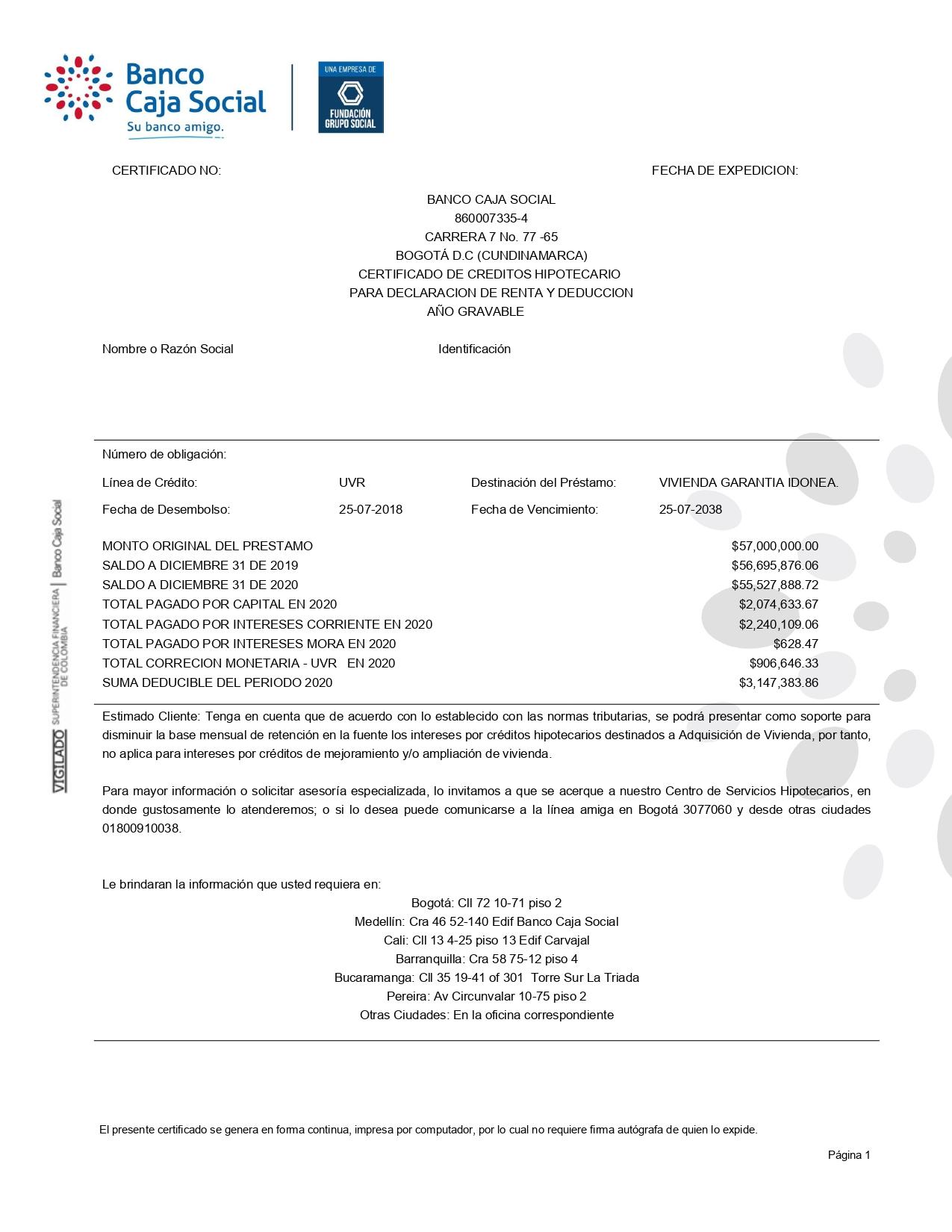 Certificado Crédito Hipotecario Banco Caja Social