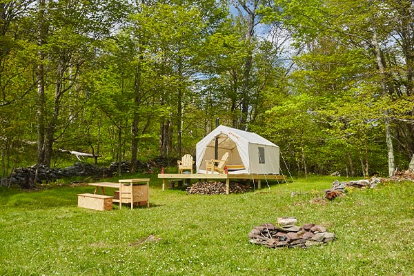 Iconic Tentrr Signature site with canvas wall tent.