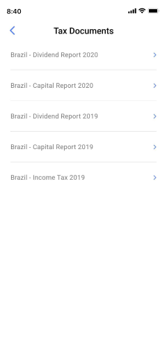 Viewing the tax documents screen on the Passfolio mobile app.