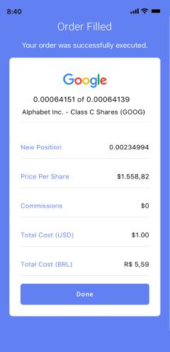Order filled for GOOG stock on Passfolio mobile app.