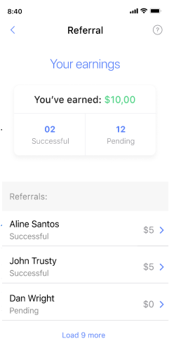 Viewing the referral program screen on the Passfolio mobile app.