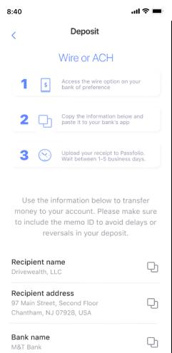Depositing money on Passfolio mobile app.