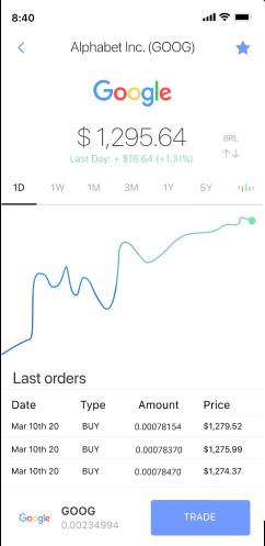 Viewing the GOOG stock price on Passfolio mobile app.