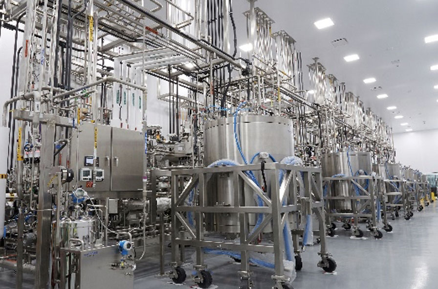 Process-related equipment in a pharmaceutical cleanroom design.