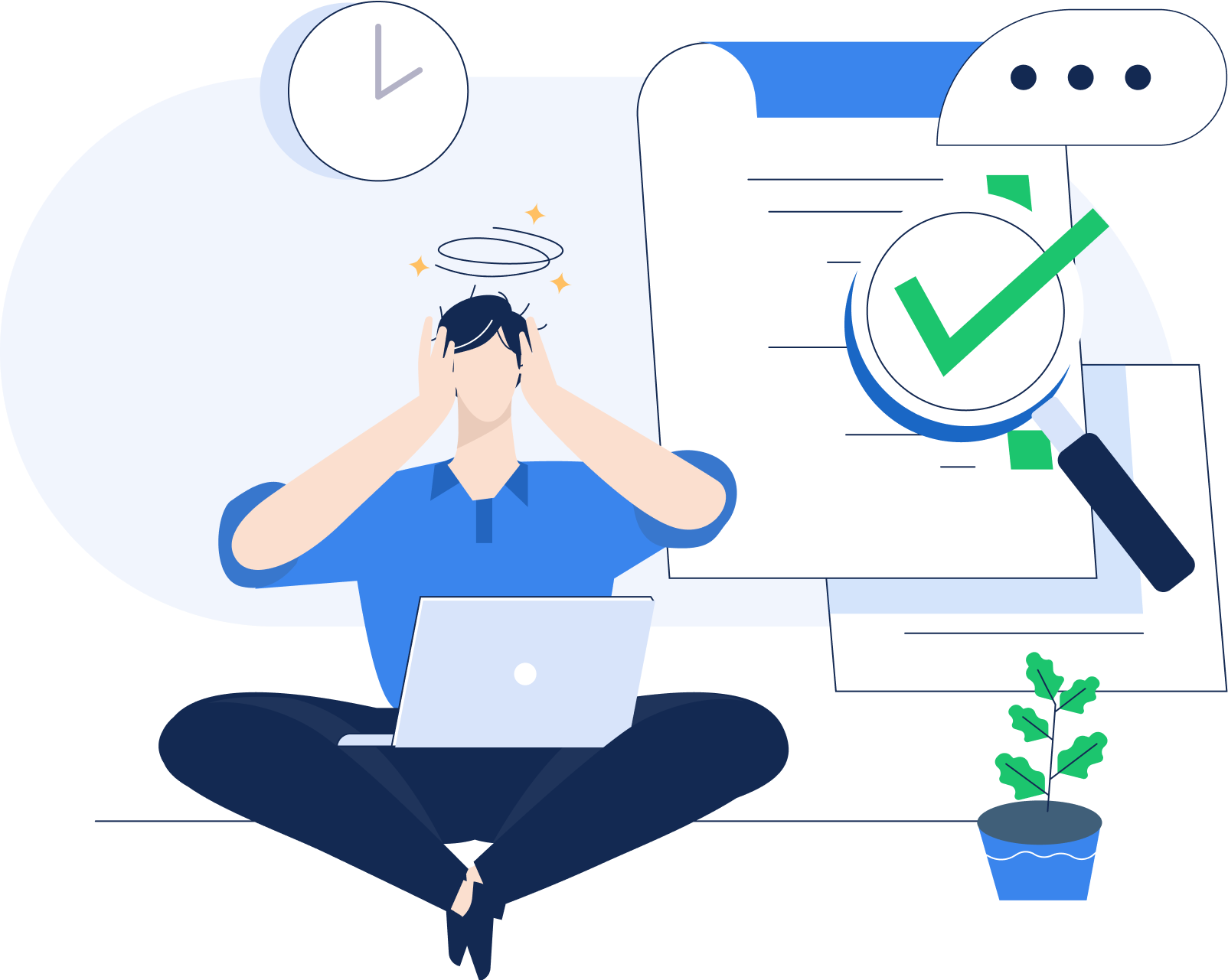 an illustration of a person sitting with a laptop. above is a clock and to the right is a to-do list.