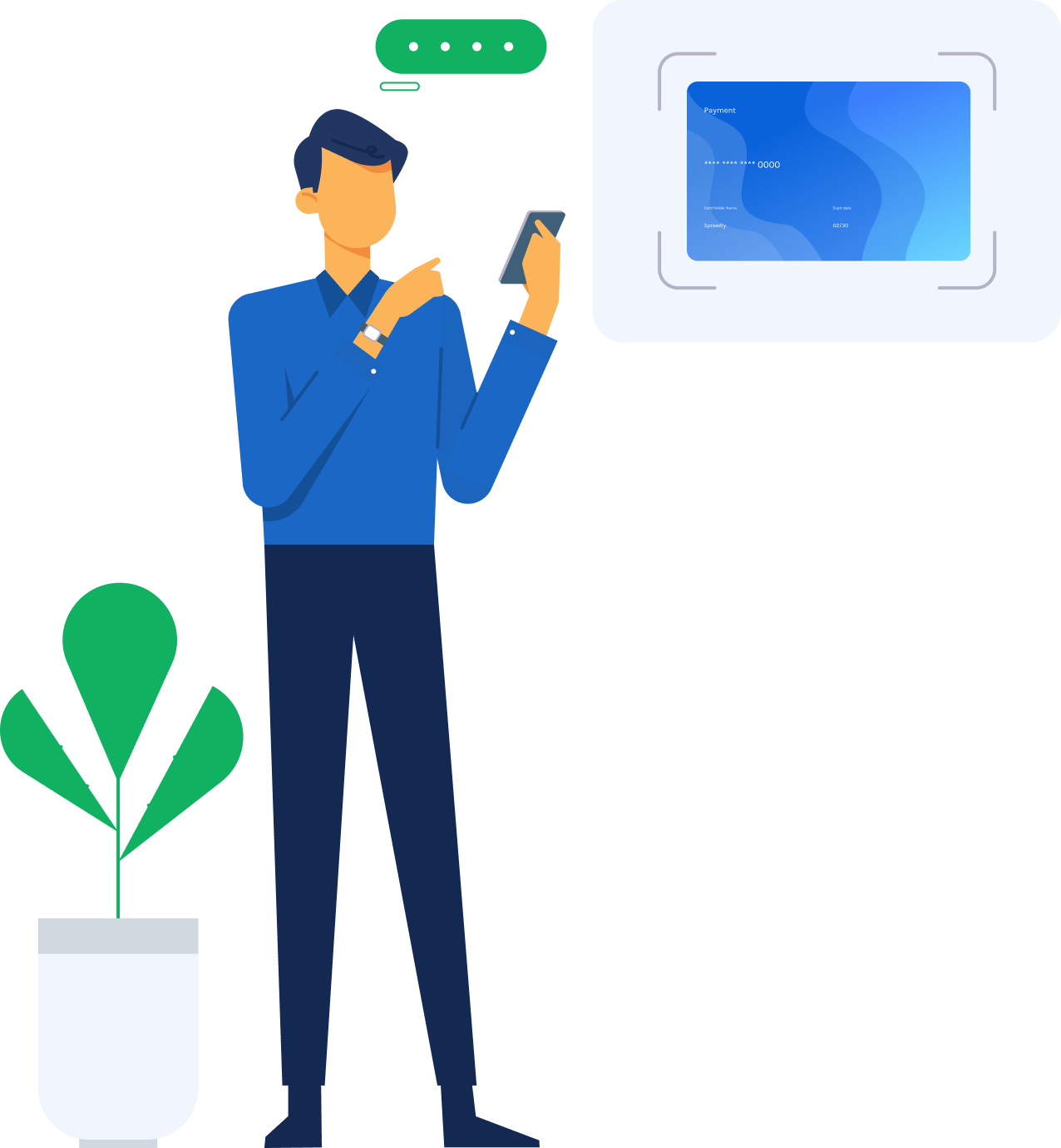 a person standing by a houseplant using a cell phone to make payments