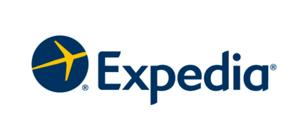 "the expedia logo. a small airplane with the word ""expedia"" to the right"
